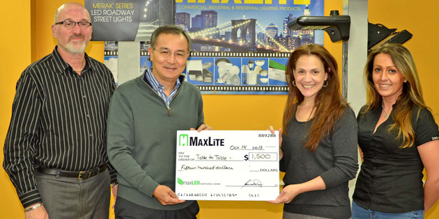 MaxLite Donates $1500 to Food Rescue Program